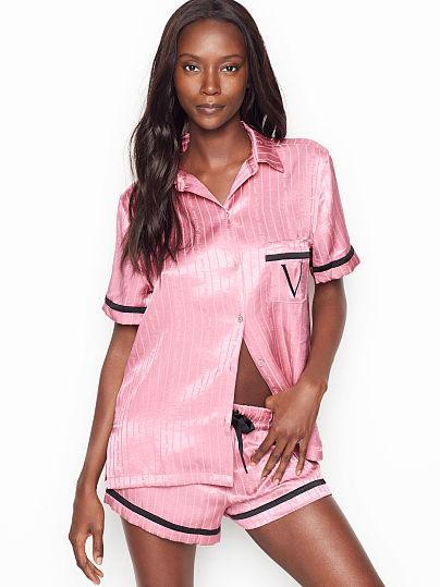 Victoria's Secret Сатиновая Пижама с Шортами The Satin Boxer PJ Set р. S, Розовая в полоску