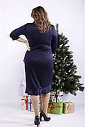 ❤/ Женское синее трикотажное платье 01335 / Размер 42-72 / Батал, фото 3
