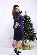 ❤/ Женское синее трикотажное платье 01335 / Размер 42-72 / Батал, фото 4