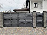Распашные автоматические ворота ш4000, в2000 и калитка ш1000, в2000 (дизайн шоколадка, филенка линза)