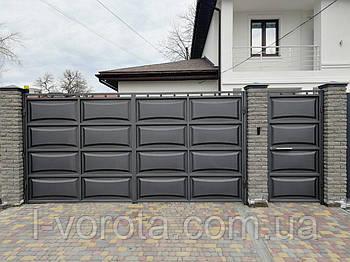 Ворота распашные металлические (дизайн шоколадка, филенка линза)