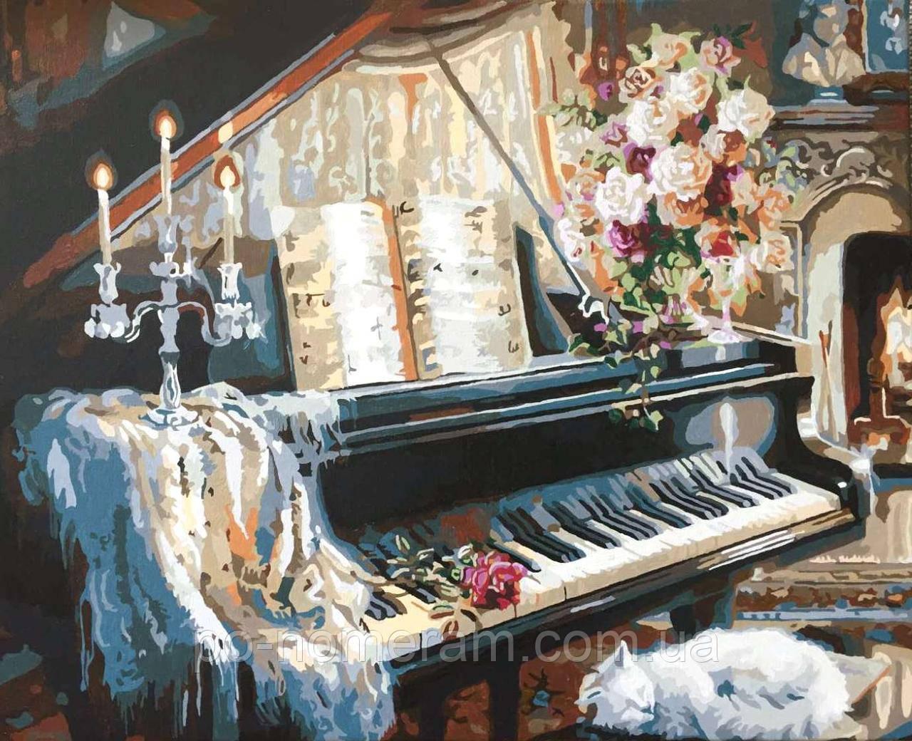 Картина по номерам DIY Babylon Музыкальный вечер у камина худ Гибсон, Джуди (VP124) 40 х 50 см