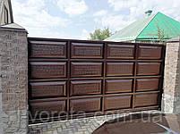 Автоматические ворота с калиткой (дизайн филенка, шоколадка с эффектом жатки), фото 2