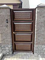 Откатные автоматические ворота ш4000, в2000 и калитка ш1000, в2000(дизайн филенка, шоколадка с эффектом жатки), фото 3
