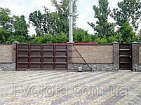 Автоматические ворота с калиткой (дизайн филенка, шоколадка с эффектом жатки), фото 4