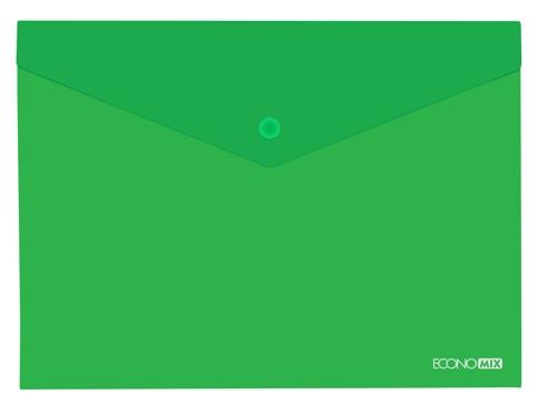 Папка конверт прозрачная А4 на кнопке Экономикс, зеленый