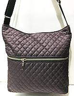 Женские стеганные сумки на плечо оптом (БАКЛАЖАН)33*25см