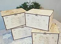 Упаковка для новогодних подарков из дерева. Коробка для новогодних подарков.