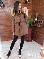 Женская зимняя парка на меху с капюшоном и меховой опушкой r6601203Е