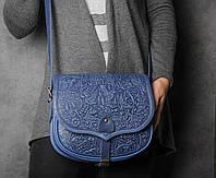 """Кожаная синяя сумка ручной работы """"В лесу"""""""