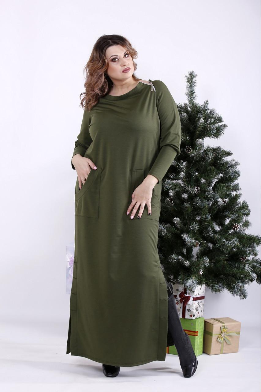 ❤/ Женское оригинальное зеленое платье в пол 01332 / Размер 42-72 / Батал