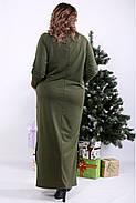 ❤/ Женское оригинальное зеленое платье в пол 01332 / Размер 42-72 / Батал, фото 4