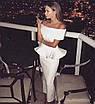 Вечернее нарядное платье миди костюм топ с баской юбка карандаш открытые плечи белое пудровое розовое, фото 7