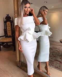 Вечернее нарядное платье миди костюм топ с баской юбка карандаш открытые плечи белое пудровое розовое