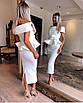 Вечернее нарядное платье миди костюм топ с баской юбка карандаш открытые плечи белое пудровое розовое, фото 2