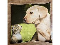3D декоративная подушка, Собака и Кошка