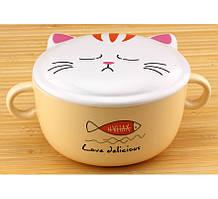 Тарелка суповая круглая с крышкой Кошка