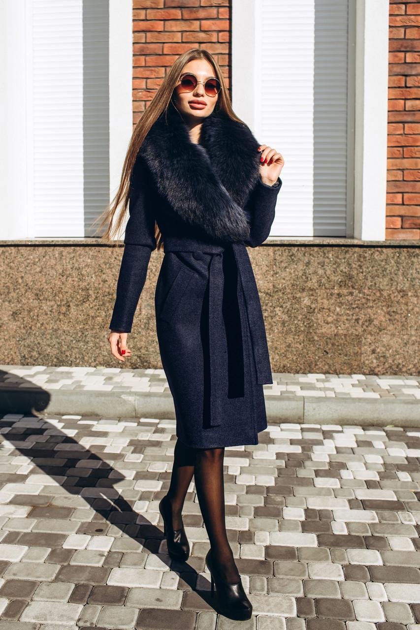 Зимнее пальто с песцовой шальюД 378 синее