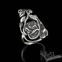 """Серебряное женское кольцо с розой """"Роза"""""""