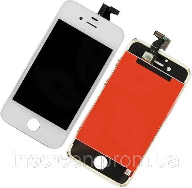 Экран (дисплей) Apple iPhone 4S с тачскрином (сенсором) белый высококачественная копия, фото 2