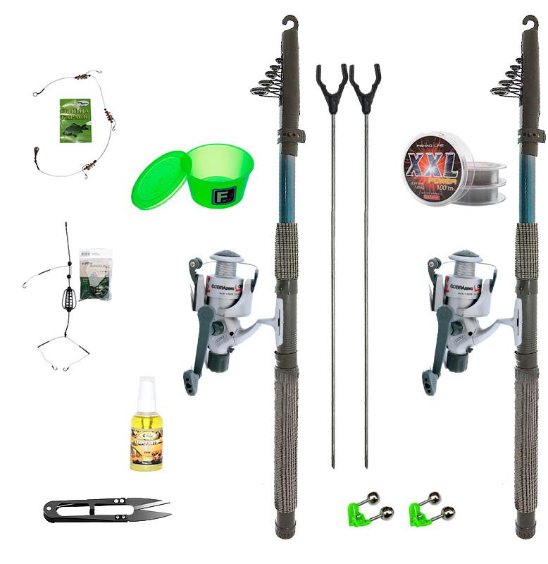"""Набір риболовний все в одному """"Два спінінга"""" для донної ловлі, готовий до використання"""