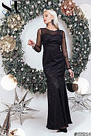 Женское черное гипюровое платье русалка со шлейфом размер 42-46