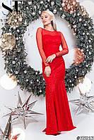 Женское красное гипюровое платье русалка в пол размер 42-46