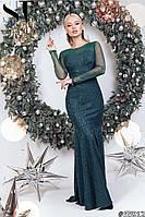 Женское гипюровое длинное вечернее платье русалка со шлейфом размер 42-46 бутылочное