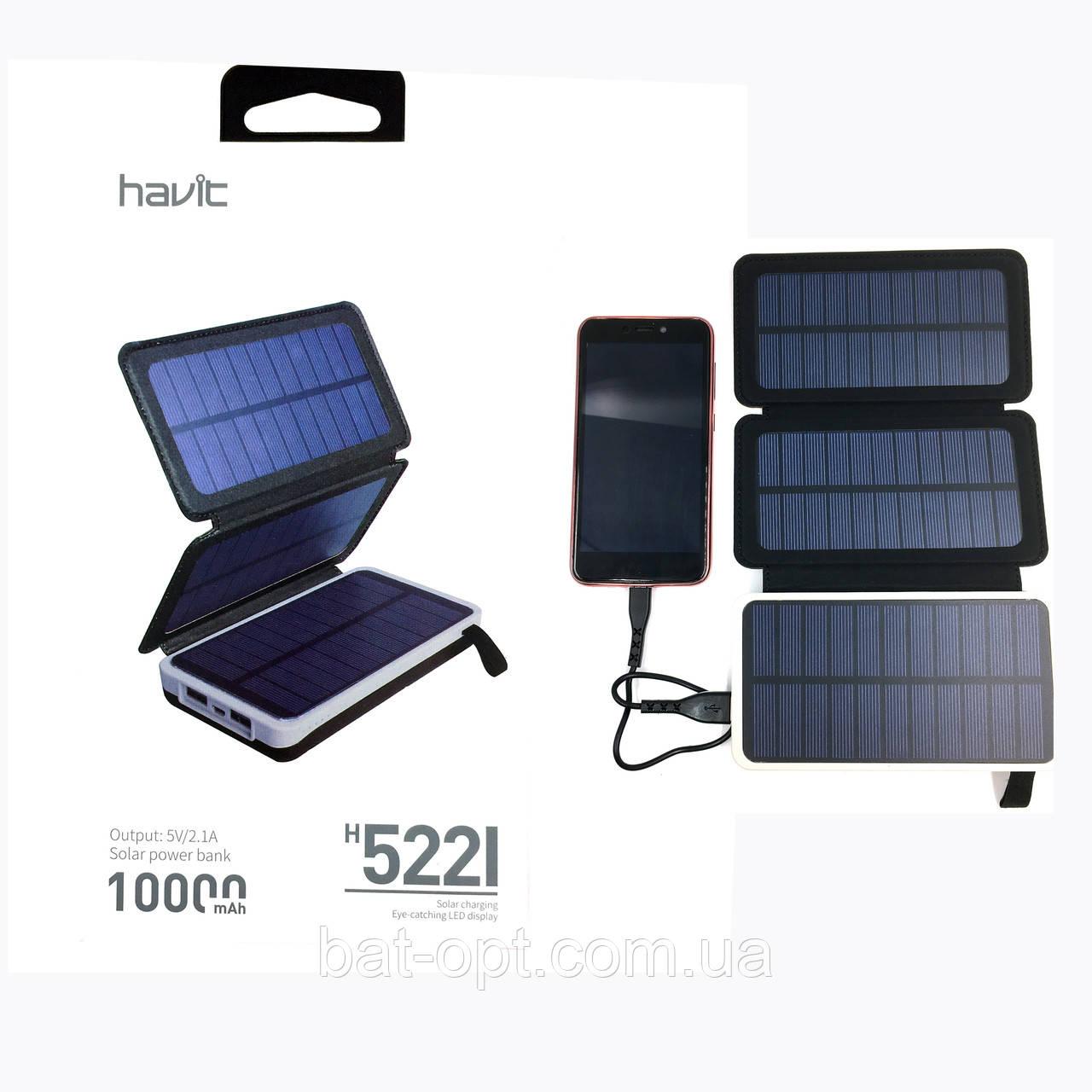 Внешний аккумулятор Power Bank Havit HV-H522I 10000 mAh с солнечной панелью черный