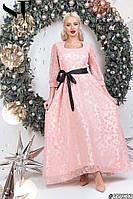 Женское длинное вечернее платье с пышной юбкой из гипюра размер 42 44 пудра