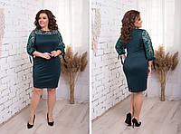 Нарядное женское платье,ткань трикотаж с напылением + вышивка на сетке,размеры:48,50,52,54., фото 1