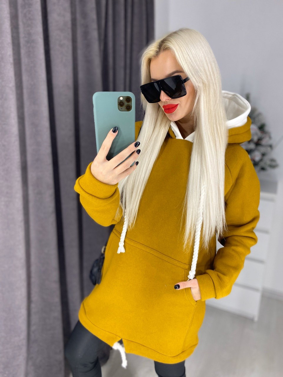 Женское зимнее теплое удлиненное худи на флисе графит молочный пудра джинс оранжевый кирпич терракот 42-46