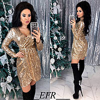 Женское платье пайетка на трикотажной основе бордовый черный золото серебро С-М Л-ХЛ, фото 1
