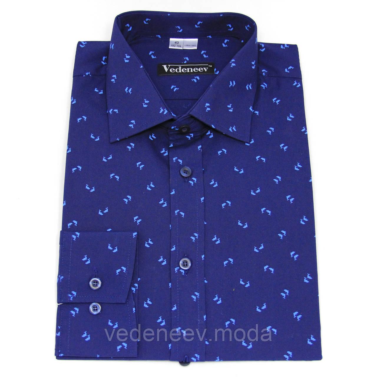 """Рубашка синяя с принтом """"Дельфины"""""""