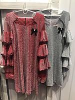 Платье для девочки подростка с воланами в серебристом цвете