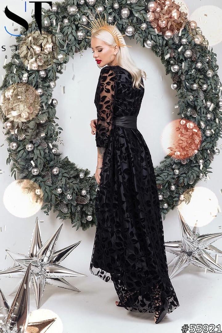 Женское длинное вечернее платье с пышной юбкой из гипюра размер 42 44 черное
