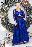 Женское длинное гипюровое вечернее платье с пышной юбкой размер 42 44 электрик