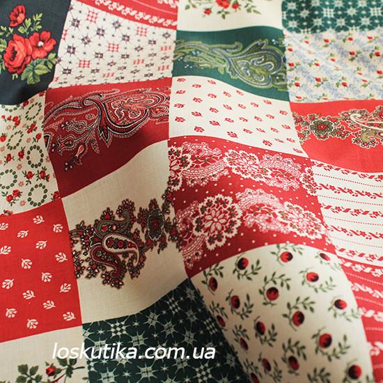 24023 Ткань новогодняя. Рождественские узоры. Подойдет для новогоднего декора, пэчворка, скрапбукинга.