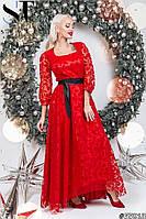 Женское длинное вечернее платье с пышной юбкой из гипюра размер 42 44 красное