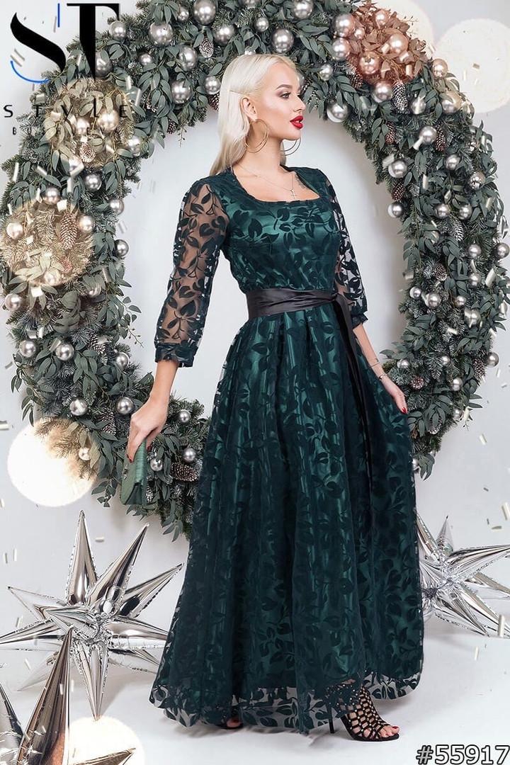 Женское длинное вечернее платье с пышной юбкой из гипюра размер 42 44 бутылочное