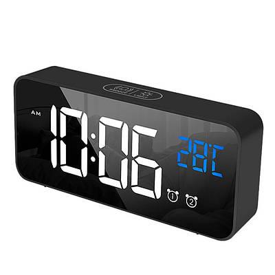 Часы настольные электронные зеркальные Losso Premium (BT) с LED подсветкой и термометром (черные), будильник