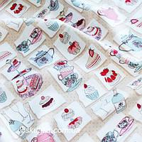 35019 Ткань для декора с изображением чайной посуды и сладостей. Подойдет для шитья и декора кухни.