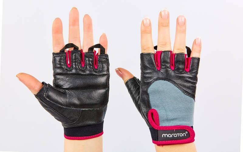 Рукавички для фітнесу жіночі шкіряні MARATON AI041440-P чорний-рожевий