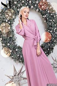 Женское длинное вечернее платье на запах размеры 42-46 фреза