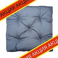 Подушка на стул Кедр на Ливане квадратная стеганная серия Puff 40x40x8 см Серая (1091)