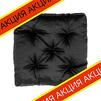 Подушка на стул Кедр на Ливане квадратная стеганная серия Puff 40x40x8 см Черная (1011)