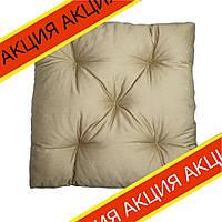 Подушка на стул Кедр на Ливане квадратная стеганная серия Puff 40x40x8 см Бежевая (1090)