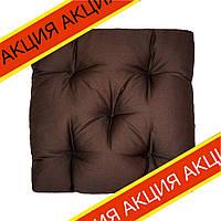 Подушка на стул Кедр на Ливане квадратная стеганная серия Puff 40x40x8 см Коричневая (1066)