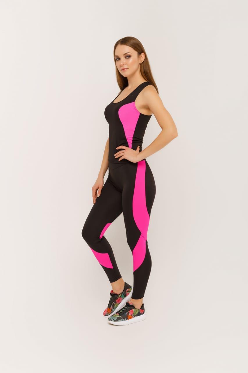 Костюм для фитнеса майка и лосины 2533  Pink