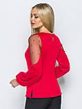 Изящная блузка однотонная с длинным рукавом украшенная бусинами, фото 3